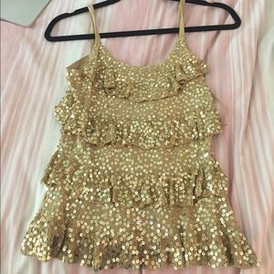 Gold Sequined Tank Top